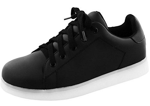 Top Moda Women's LED Light Up Classic Lace-Up Platform Fashion Sneaker,9 B(M) US,Black/White