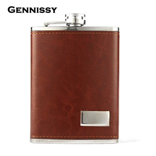 GENNISSY Pocket Hip Flask 8 Oz with Funnel - Stainless Steel withLeather Wrapped Cover and 100% Leak Proof