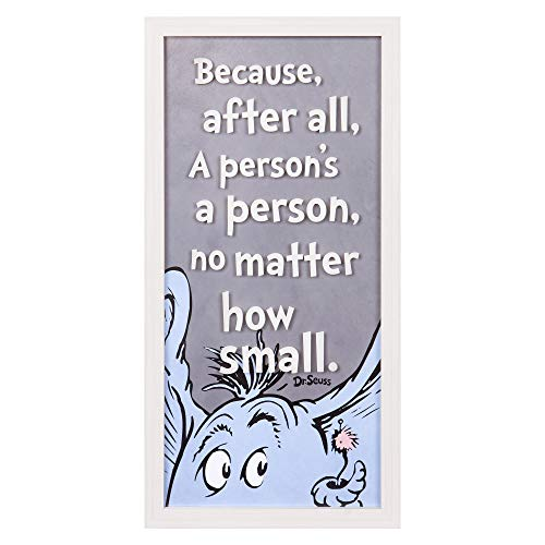 Patton Wall Decor Dr. Seuss Horton Person 10x20 Print On Glass Framed Wall Art, Grey]()