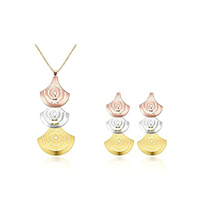 top Beydodo Earrings and Necklace Set for Women,Gold Plated Jewelry Set Multicolor Three Flabellate save more