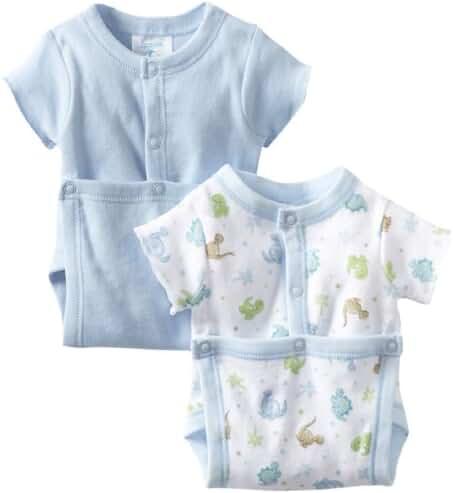 SpaSilk Baby Boys' Two Pack Dino Print Wrap Bodysuit