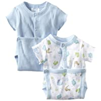 SpaSilk Baby Boys' 2 Pack Dino Print Wrap Bodysuit, Blue, 9 Months