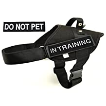 Police & Service Dog BLACK Vest Harness with 1 of each Embroidered badges 'IN TRAINING' & 'DO NOT PET' - Redline K9 (LARGE)