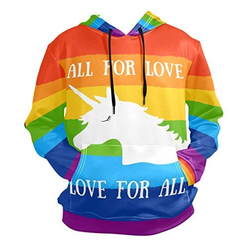 - Rainbow Unicorn Pullover Sweatshirts for Women Winter Thin T-Shirt Hooded Clothing Size M