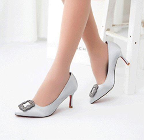 Aisun Damen Elegant Spitz Zehe Low-Cut Kitten Heel Ohne Verschluss Pumps Silber