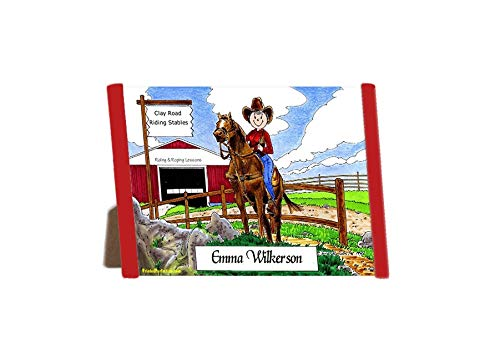 Printed Perfection Personalized Friendly Folks Cartoon Side Slide Frame Gift: Cowgirl Gift Horse Lover, Stables, Roper, Equestrian, Horse Rider, Cowgirl