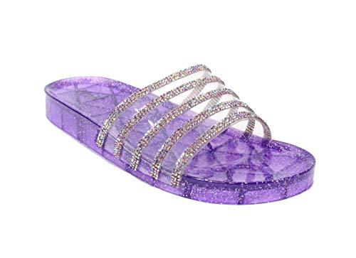 Women's Crystal with Rhinestone Bling Glitter Open Toe Slide Sandal Flat Jelly Shoes Sunny (8 B(M) US, Purple) -