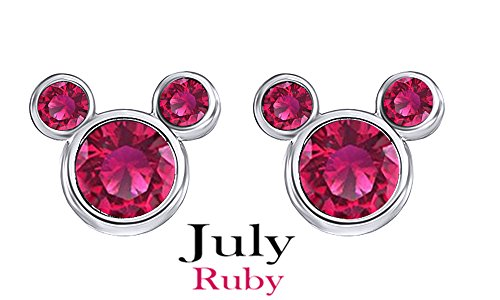 (Jewel Zone US July Birthstone Dark Pink Mickey Mouse Stud Earrings in 14k White Gold Over Sterling Silver)