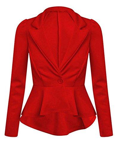 26 UK Ruffle Long Flared One Sleeve Ladies Fancy Jacket Islander Peplum Blazer Red Top Button Plain Fashions 8 Frill Coat Womens qfBgnHT
