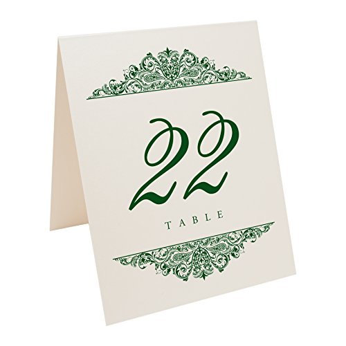 Documents and Designs Paisley Table Numbers (Select Color/Quantity), Champagne, Hunter Green, 1-10