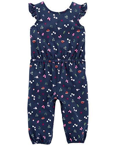 Carter's Baby Girls' Jumpsuits (Navy/Garden, Newborn) Carters Newborn Girls Jumpsuit