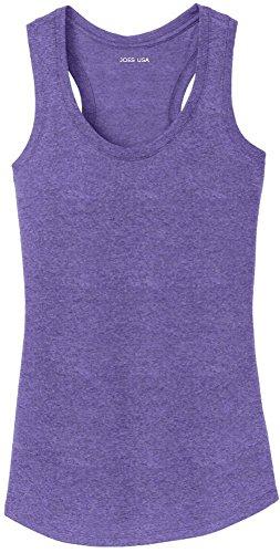 Purple Scalloped - Joe's USA(tm) Ladies Tri-Blend Racerback Tank Top-Purple-XL