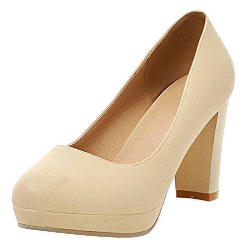 On Moda Mujer Heels Beige TAOFFEN Slip Bombas fp8awqqx