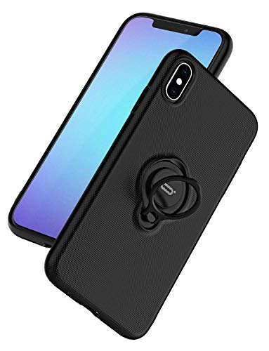 ICONFLANG for iPhone Xs/X Case, Ultra-Slim iPhone Xs Case with Ring Holder Stand Compatible Magnetic Car Mount Cover Case for Apple iPhone Xs (2018) iPhone X (2017) 5.8 inch - Black
