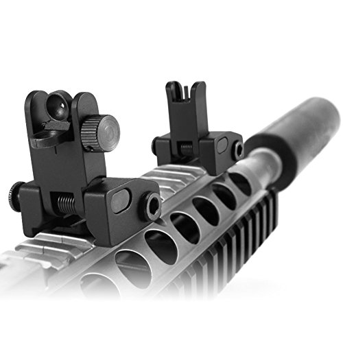 Lirisy Tactical Backup Iron Sight, Flip Up BUIS Rear Sight and Front Sight Set for Rifles Picatinny Rails Mounted