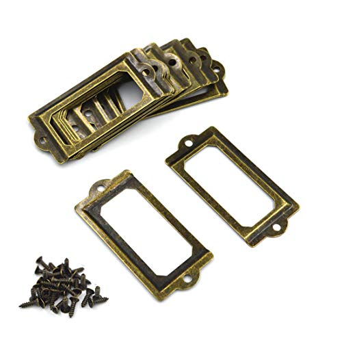(SpzcdZa 26Pack 70x33mm Office Library File Drawer Cabinet Card Tag Label Card Holder Drawer Pull/Label Holders/Label Frames Card/Label Holder Modern Label Holders Metal Frame(Green Bronze))