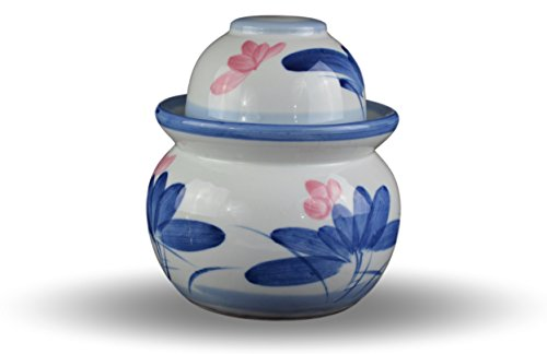 Chinese Jar - Porcelain Pickling Jar with 2 Lids Grapes Fermenting Pickling Kimchi Crock Korean Chinese