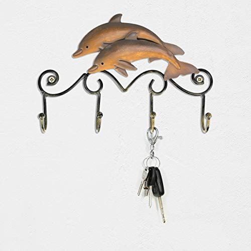 Tooarts Key Holder Iron Dolphin Wall Hooks Antique Finish Iron Clothes Hanger Rack Screws Included Wall Mounted