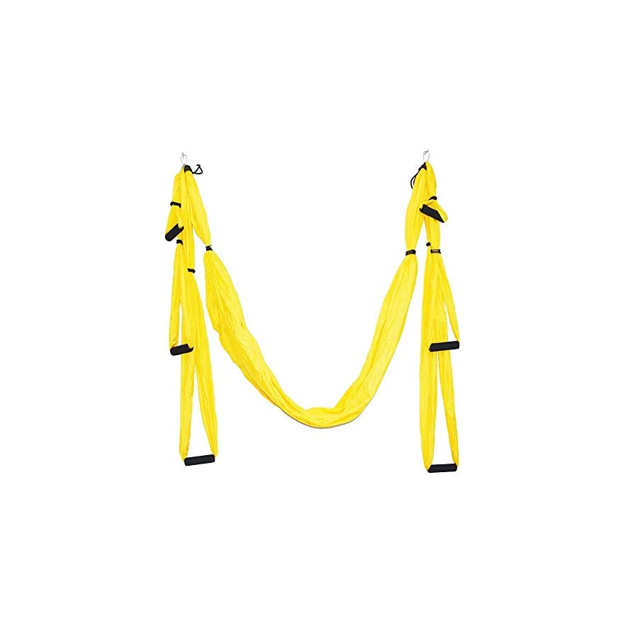 Parachute Fabric Swing Inversion Therapy Anti gravity Aerial Yoga Dip Stands Color Yellow New