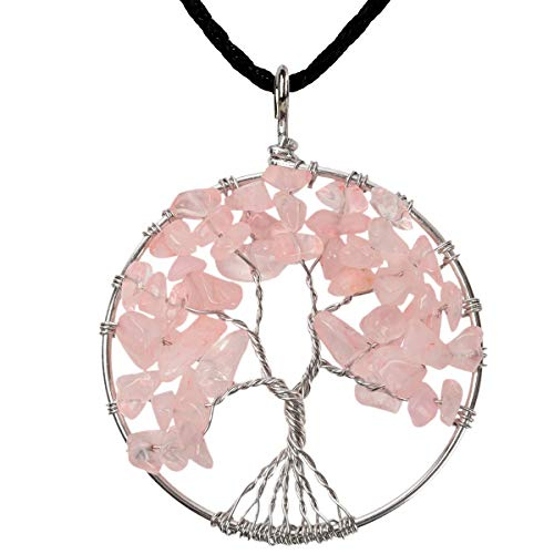 YACQ Rose Quartz Charm Tree of Life Gemstone Pendant Necklace Pure Love Pink Wire Wrapped Filigree Natural Stone Healing Chakra Spiritual Raw Stone Handcrafted Jewelry for Women - Earrings Rose Filigree Quartz