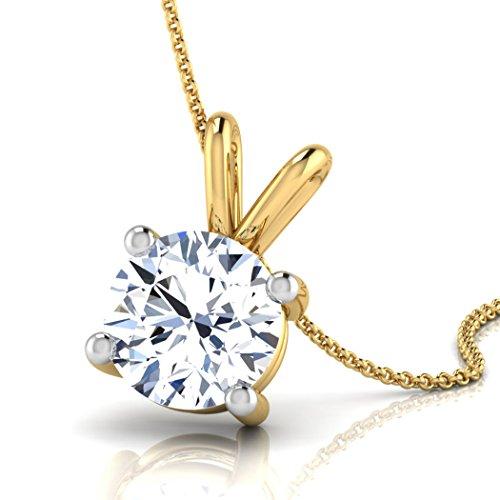 Or jaune 18K 0,3CT TW Round-cut-diamond (IJ | SI) Pendentif