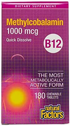 Natural Factors, Chewable Vitamin B12 Methylcobalamin 1000 mcg, Support for Energy Levels and Mental Function, 180 tablets (180 servings)