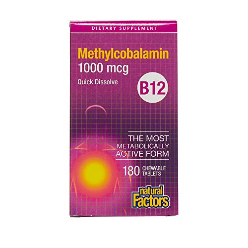 Natural Factors - Vitamin B12 Methylcobalamin 1000mcg, Support for Nerve Function, Energy Production & Red Blood Cells, 180 Chewable Tablets (B-12 Vitamins Natural Source)