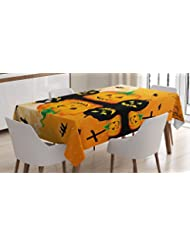 Halloween Decorations Tablecloth By Ambesonne Spooky Carved Halloween Pumpkin Decor Full Moon With Bats And Grave By Lake Dining Room Kitchen Rectangular Table Cover 60 X 84 Inches