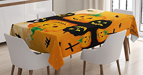 Ambesonne Halloween Decorations Tablecloth, Spooky Carved Halloween Pumpkin Decor Full Moon with Bats and Grave by Lake, Dining Room Kitchen Rectangular Table Cover, 60 X 90 inches -