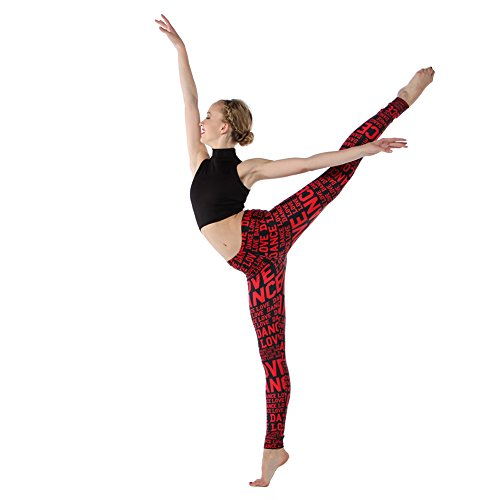 Alexandra Collection Womens Love Dance Athletic Workout Leggings Pink/Black Small by Alexandra Collection (Image #7)