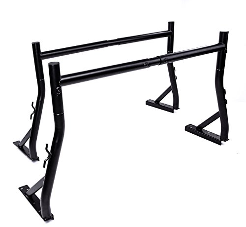 AA Products Inc AA-Racks Model X35 800Ibs Capacity Extendable Steel Pick-Up Truck Ladder Rack Two-bar Set - Matte Black