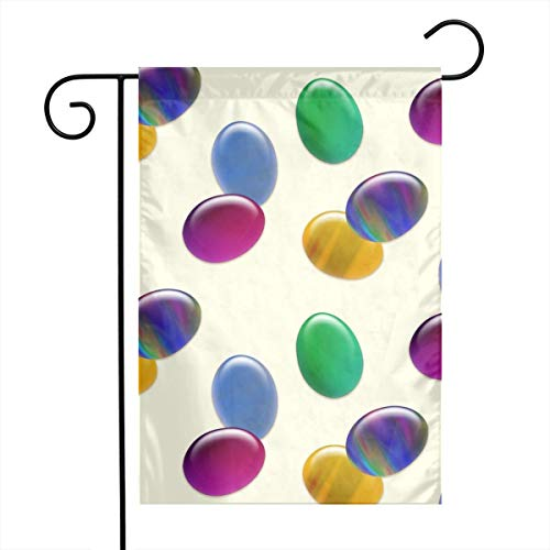 huagu Double Sided Indoor Outdoor Garden Flag Glass Easter Eggs_1221 Fade Resistant Seasonal Holiday Decorative Yard Flag 12x18 Inch