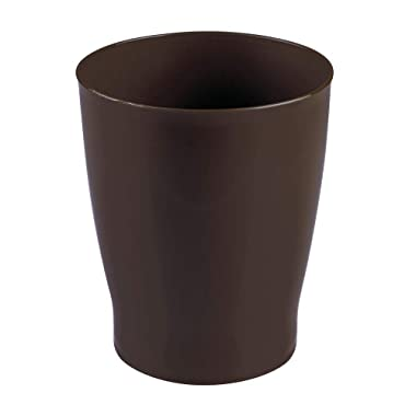 mDesign Slim Round Plastic Small Trash Can Wastebasket, Garbage Container Bin for Bathrooms, Powder Rooms, Kitchens, Home Offices, Kids Rooms - Dark Brown