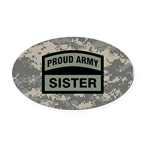 CafePress - Proud Army Sister Camo - Oval Car Magnet, Euro Oval Magnetic Bumper Sticker ()