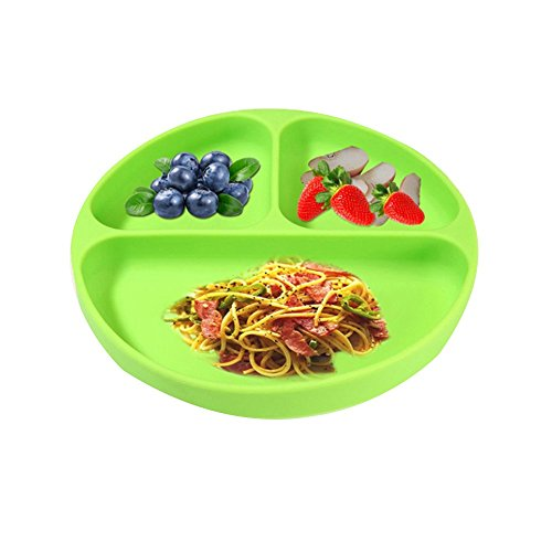 LLZJ Babies Silicone Suction Bowl Suction Stay Put Separate Placemat Anti-Fall Tableware Dishes Children's Toddler Feeding Antidérapant Training,Green by LLZJ