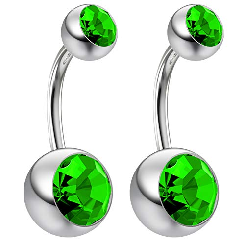 Peridot Crystal Ring Swarovski (2pc 14g Swarovski Crystal Belly Button Ring CZ Peridot Green Jeweled 8mm Sexy Women Navel Rings)