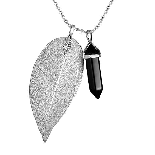 Agate Necklace Silver Leaf (Injoy Jewelry Black Agate Gemstone Necklace Crystal Healing Pointed Leaf Pendant Necklace with Silver Plated Chain)