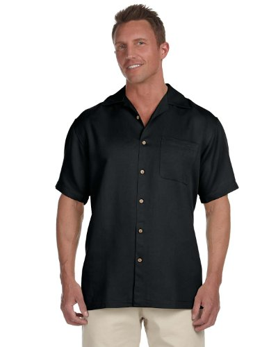Harriton Men's Bahama Cord Camp Shirt - 2XL - Black