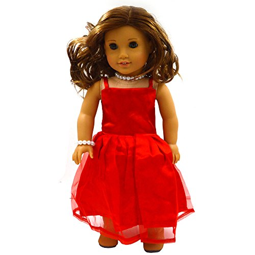 Youtop Fashion Red Silky Satin and Organza Full Dress Evening Gown Fits 18 Inch American Girl Dolls