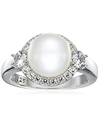 Platinum-Plated Sterling Silver Cubic Zirconia Halo Freshwater Cultured Pearl Ring