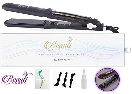 Steam Hair Straightener work with Argan Oil Infusion Treatment Professional Salon quality 2in1 curling & flat iron styler Straighteners 4 Dry & Wet hair 360° Swivel Cord 450ºF max by BEAUTI VOGUES
