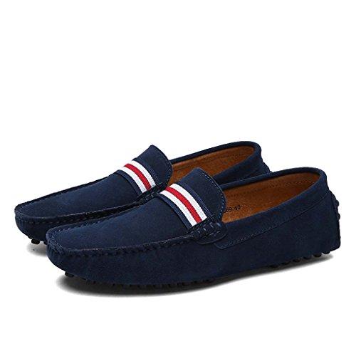 ZXCV Zapatos al aire libre Conducción de la primera capa de zapatos de los hombres de cuero de ocio de moda matte zapatos de frijol anti-terciopelo Azul