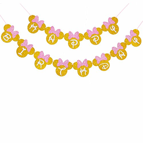 Pink And Gold Glitter Minnie Happy Birthday Banner Girls Birthday Themed Party Decoration ()