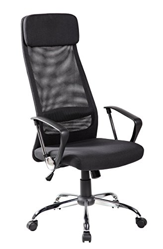 KERLAND High Back Mesh Ergonomic Swivel Adjustable Seat Height Padded Headrest Computer Desk Executive Office Chair with Arms, Black