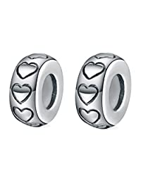 2 Pcs Spacer Beads Charm Stopper Sterling Silver with Rubber Fit for Pandora/European Charm Bracelets