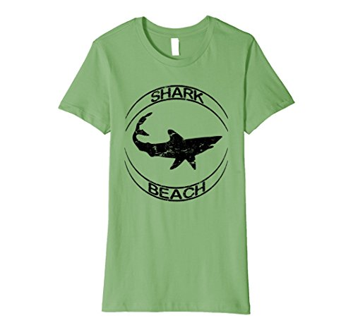 Womens Shark Beach Distressed Vintage Look Shark T Shirt Small Grass