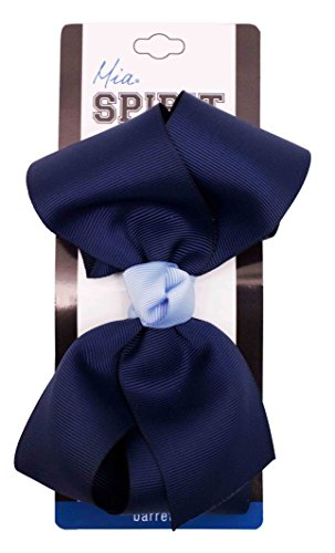 """Price comparison product image Mia Spirit Bow Barrette-Large Grosgrain Bow With Contrast Center On Auto Clasp Barrette-Navy Blue With Light Blue Center-Measures 6"""" Long x 3"""" Wide (1 piece per card)"""