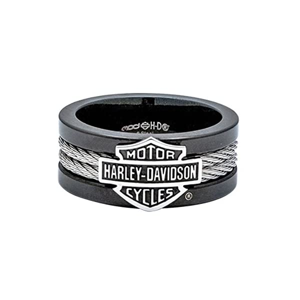 Harley-Davidson Mens Stainless Steel B&S Steel Cable Band Ring (11)