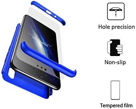 BESTCASESKIN Funda Compatible con Xiaomi Mi A2, Carcasa Móvil de Protección de 360° 3 en 1 Desmontable con HD Protector de Pantalla Caso Case Cover [Anti Huellas Dactilares] Azul