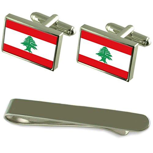 Drapeau Liban manchette argent gravé Cravate Cadeau